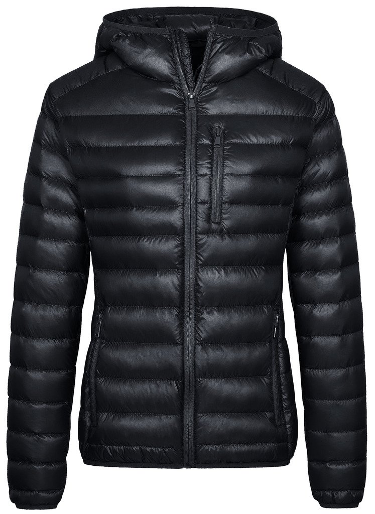 Wantdo Women's Hooded Packable Ultra Light Weight Short Down Jacket(Black, Medium)