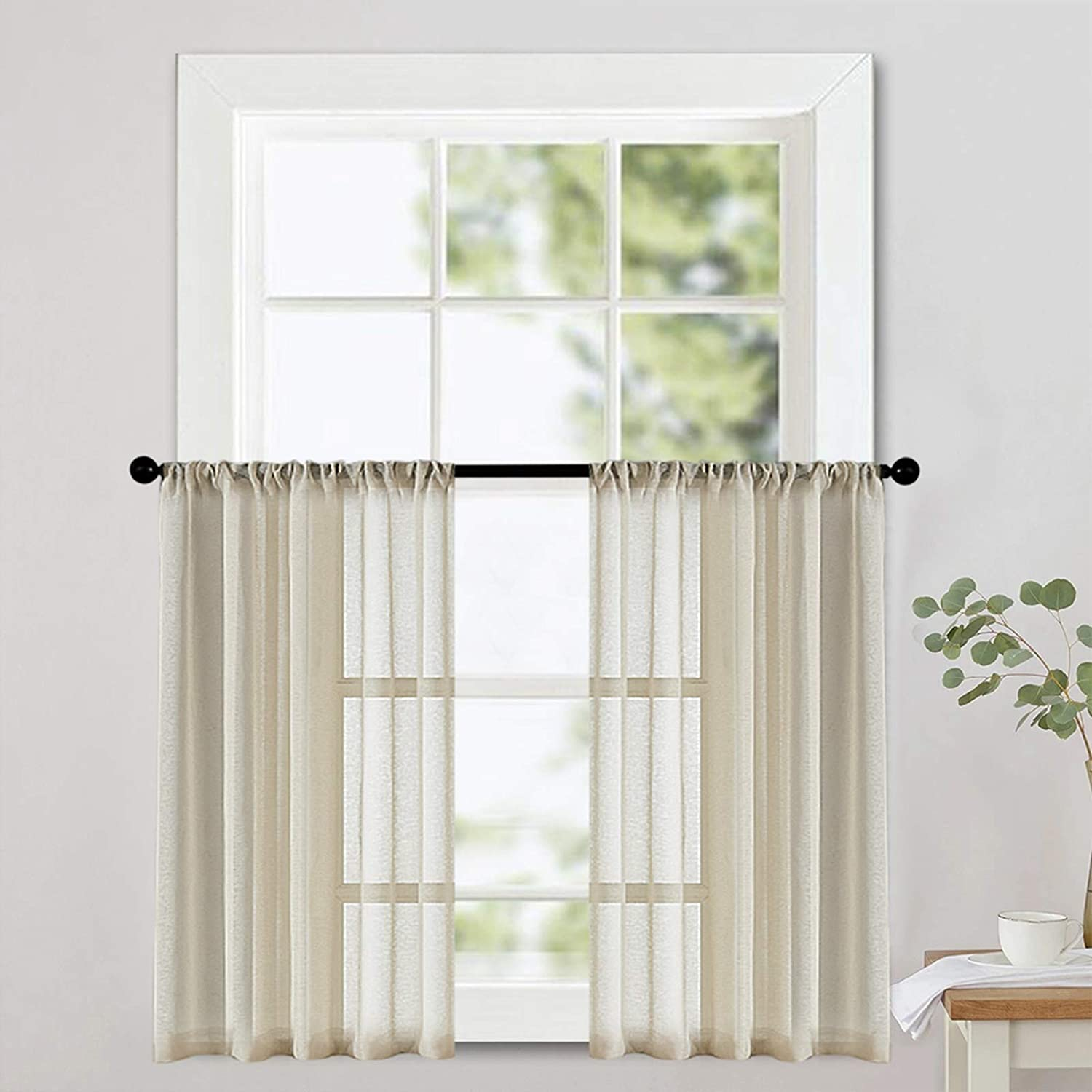 Semi Sheer Tier Curtains Beige Kitchen Tiers 24 inches Long Privacy Cafe Curtains Small Short Bathroom Half Window Curtains Basement 2 Panels Pole Top