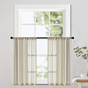 Short Sheer Tier Curtains 24 inches Long Beige Curtain Sheers Transparent Kitchen Tiers Bathroom Small Curtain Panels Cafe Curtains Voile Window Treatment Rod Pocket Light Filtering 2 Panels