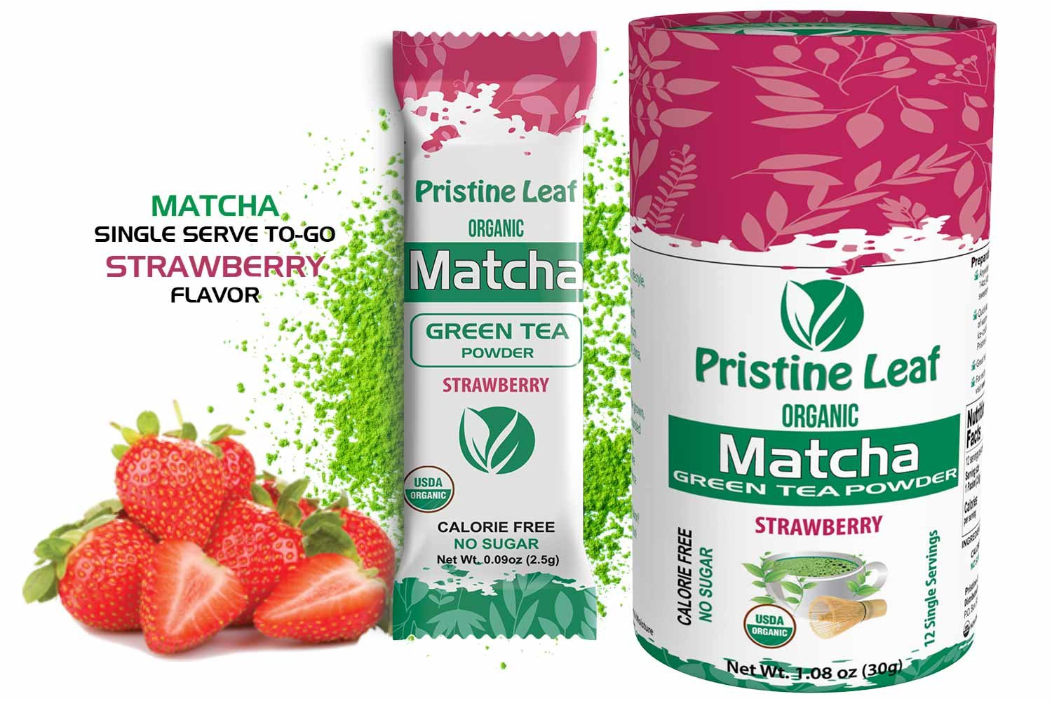 Pristine Leaf Organic Matcha Green Tea Powder, Strawberry Flavored, 12 Single Serving Packs Anytime Anywhere To Go, No Sugar, No Fillers, No Additives, All Natural, Calorie Free, Vegan, Gluten Free by Pristine Leaf
