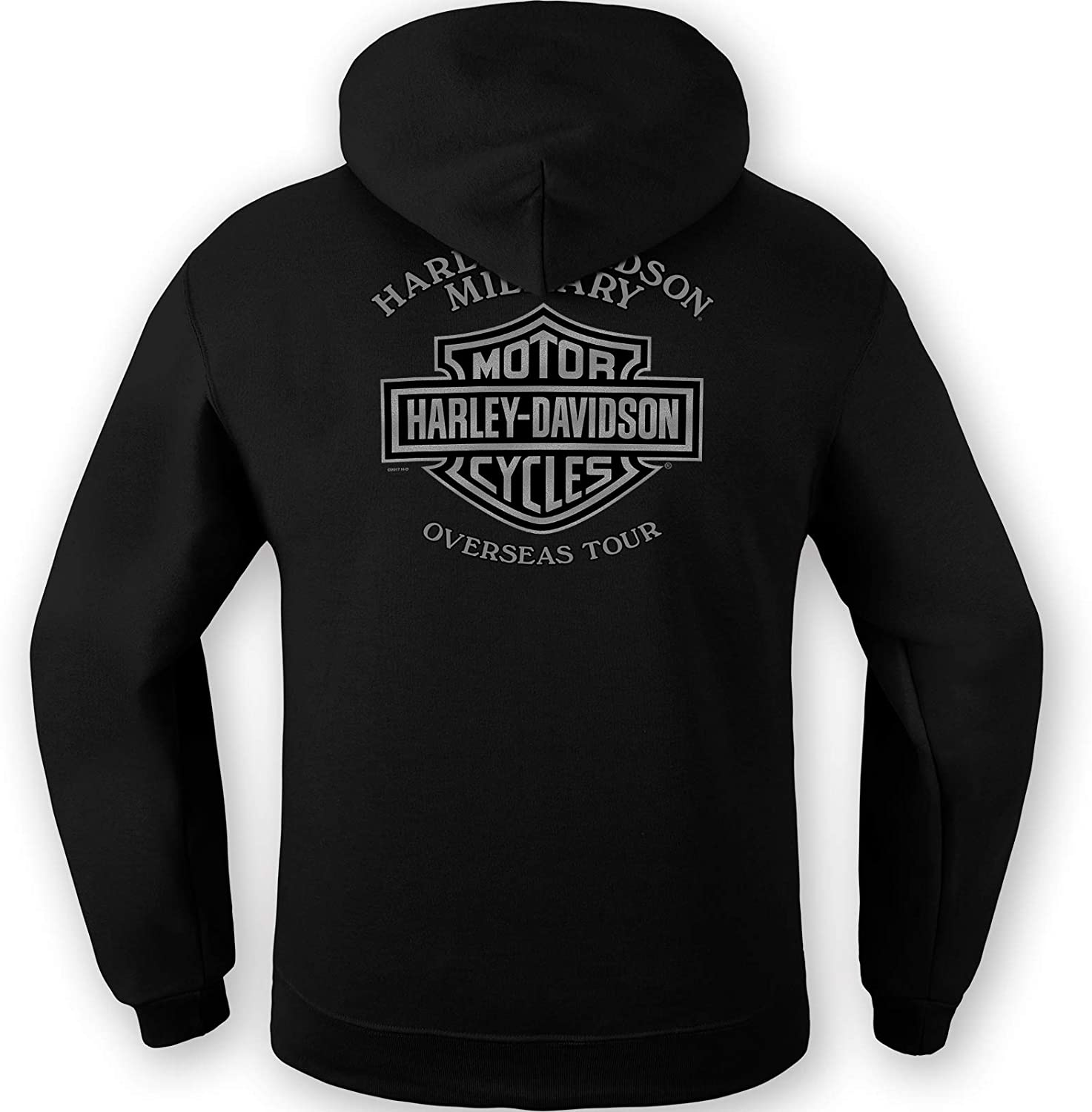 Veterans Support Mens Black Graphic Pullover Hooded Sweatshirt Overseas Tour HARLEY-DAVIDSON Military