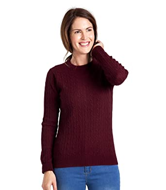874c0a3367 Woolovers Womens Cashmere and Merino Cable Crew Neck Knitted Sweater Plum