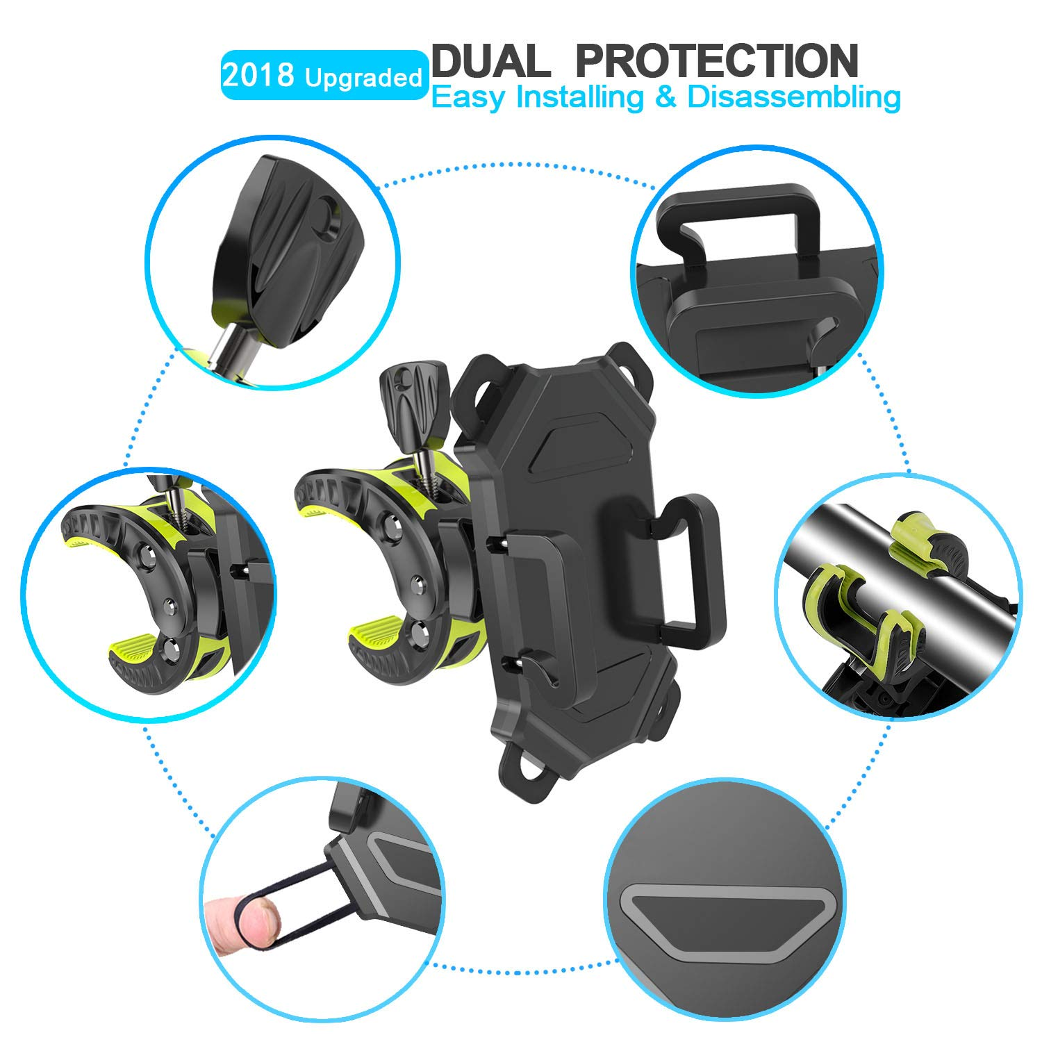 Bike Phone Mount,Bicycle Cell Phone Holder,Universal Motorcycle Handlebar Rack With 360/° Rotation Adjustable Anti Shake Silicone BANDS Cycling Compatible With All Smart Phone iPhone X,8,7 Plus,Galaxy sunby 4347587514