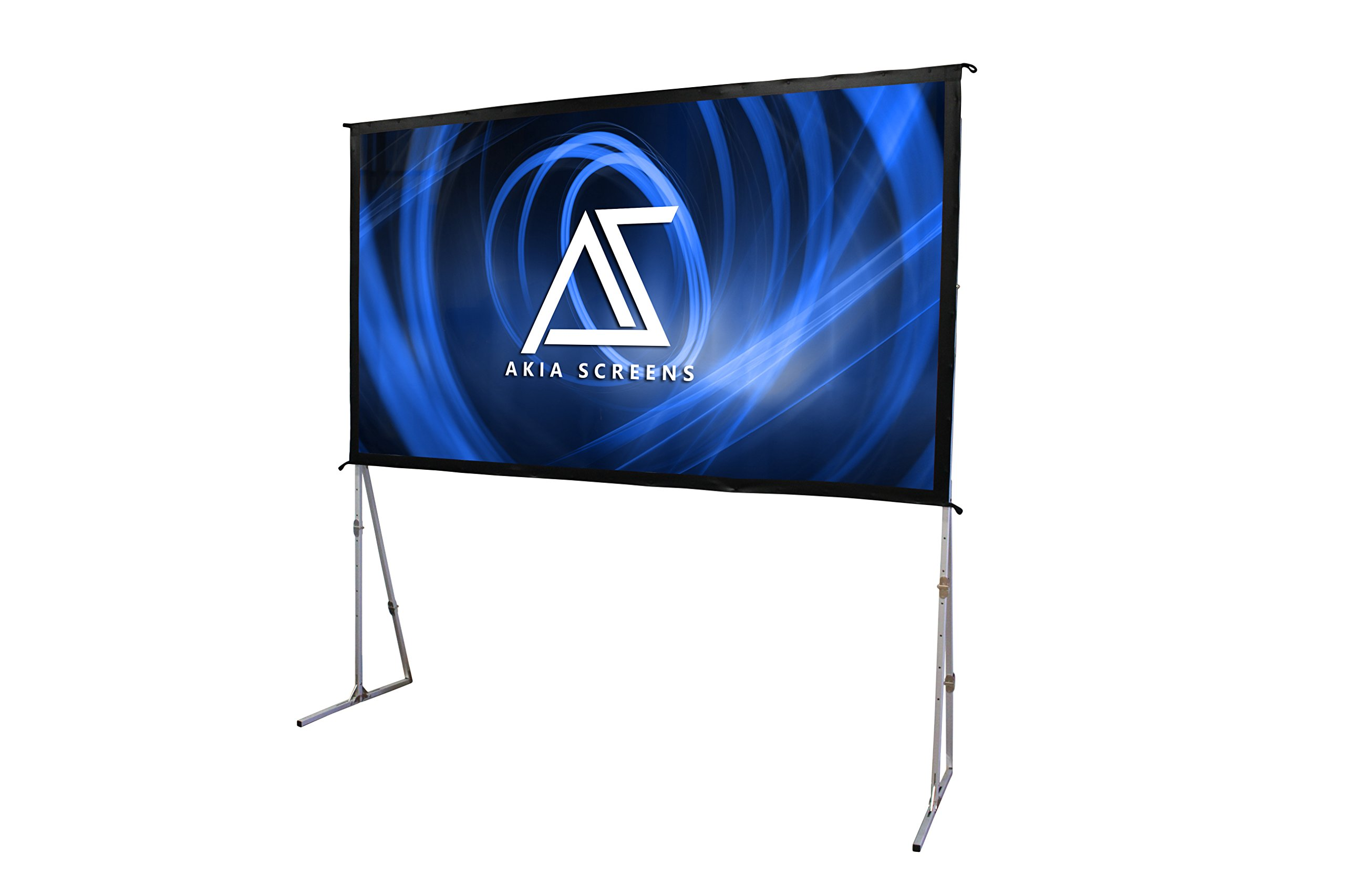 """Akia Screens 145"""" Portable Indoor / Outdoor Easy Snap Aluminum Frame Projector Screen, 145 inch Diagonal 16:9, 8K / 4K Ultra HD 3D Ready Adjustable Height Projection Screen Kit, AK-OS145H"""