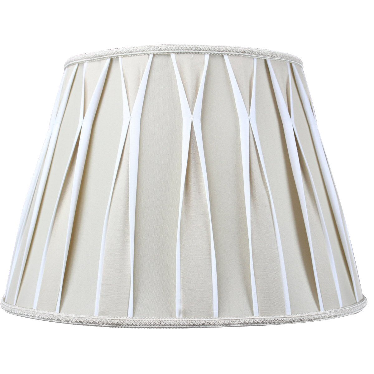 HomeConcept 101611EPBW Pinched Pleat Shantung Lampshade with Brass Spider Fitter by Home Concept, 10'' x 16'' x 11'', White/Beige