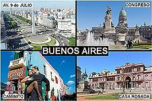 SOUVENIR FRIDGE MAGNET - BUENOS AIRES ARGENTINA 3½ x 2½ inches Jumbo