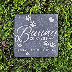 Personalized Memorial Pet Headstone Customized - Forever In Our Hearts - 6 x 6 Negro Marquina Marble