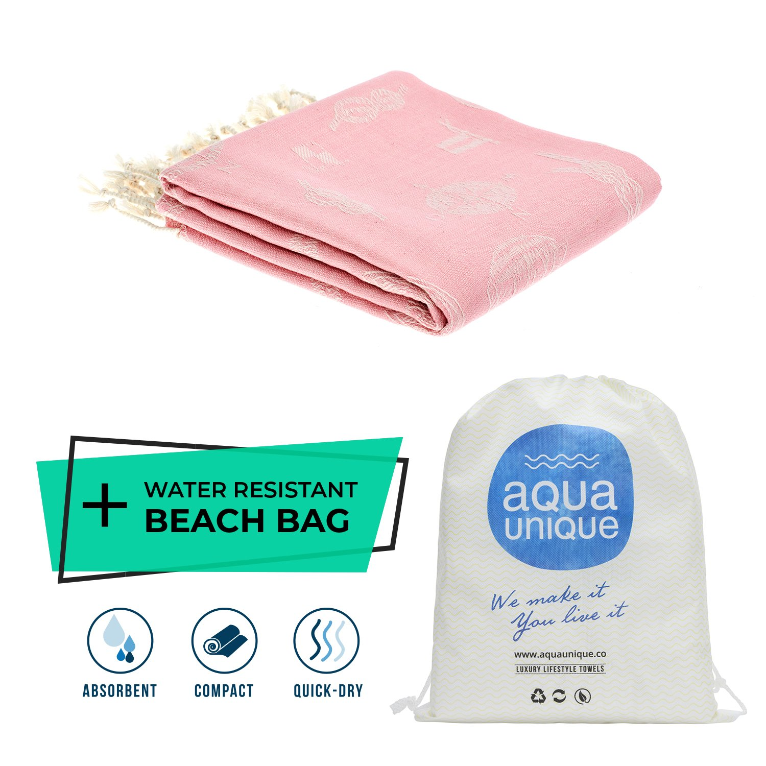 Marine Turkish Handloomed Towel By Aqua Unique –Pre-Washed, Fashionable & Luxurious Towel For The Beach, Spa, Hotel, Festivals &Traveling | 100% Pure Turkish Cotton & Oeko-Tex Certified (Marine Pink)
