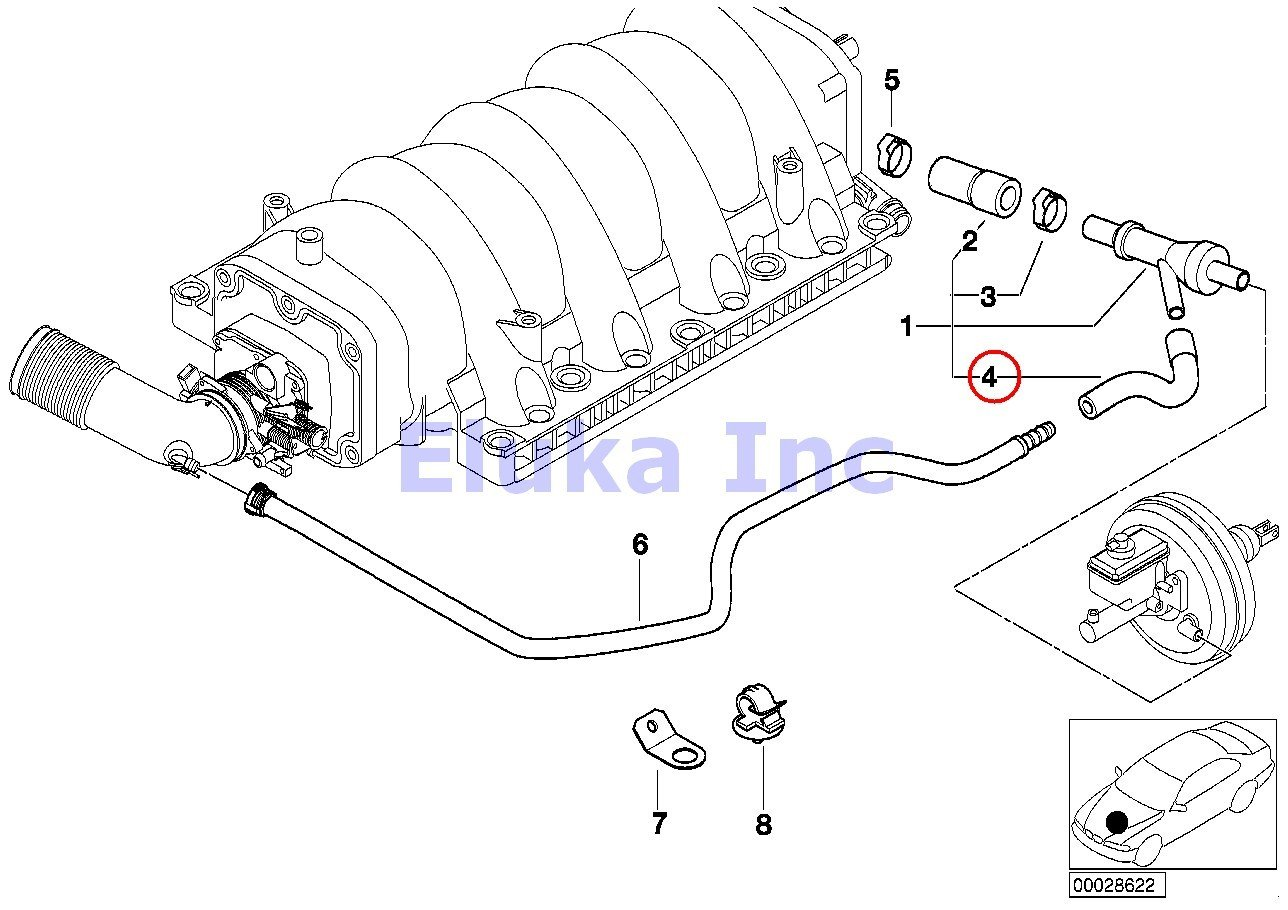 amazon com bmw genuine vacuum hose vacuum pipe to brake booster BMW Z8 Roadster