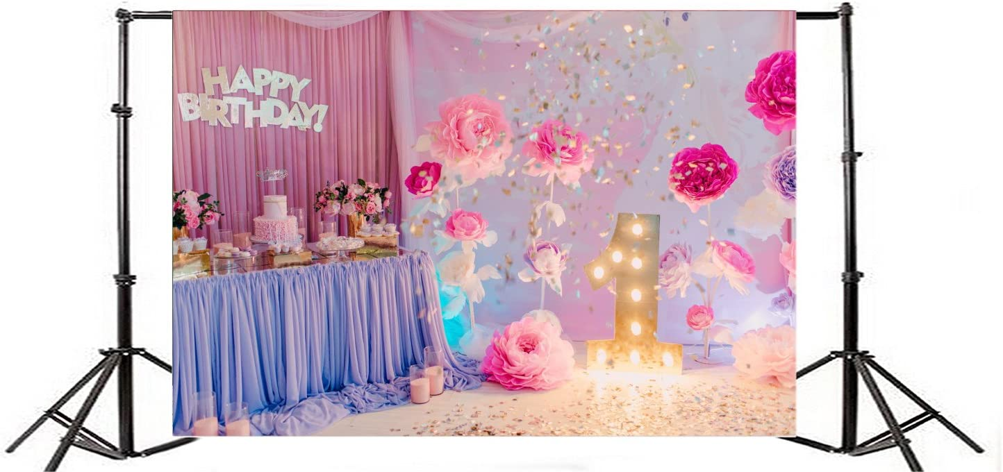 Laeacco 7x5ft Vinyl Photography Backdrop Happy Birthday Flowers Decoration Party Blooming Paper Flowers Cakes Candy Curtain Shining Lights Interior Photo Background Children Baby Adults Portraits