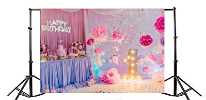 Yeele 7x5ft Baby Girls 1st Birthday Party Photo Backdrops Vinyl Sweet Cute Cake Smash Rose Flowers Photography Background Decoration Kid Baby Digital