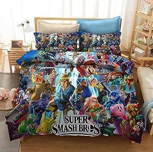 Super Mario Duvet Cover Sets, Kids Game Themed Microfiber Bedding, 3PCs Super Smash Bros Pattern Decorative Modern Quilt Cover Set Queen, Pattern 1
