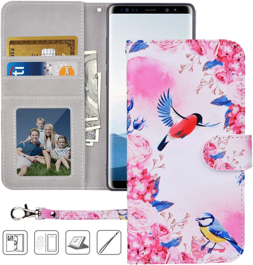 Galaxy Note 8 Wallet Case,Galaxy Note 8 Case, MagicSky Premium PU Leather Flip Folio Case Cover with Wrist Strap, Card Holder, Cash Pocket, Kickstand for Samsung Galaxy Note 8(Birds Love Flowers)