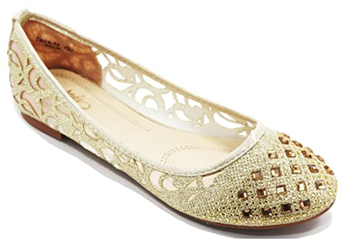 bccf86d17 Walstar Women Rhinestone Flats Shoes Glitter Mesh Ballet Flats Slip on Flat  Shoes Gold