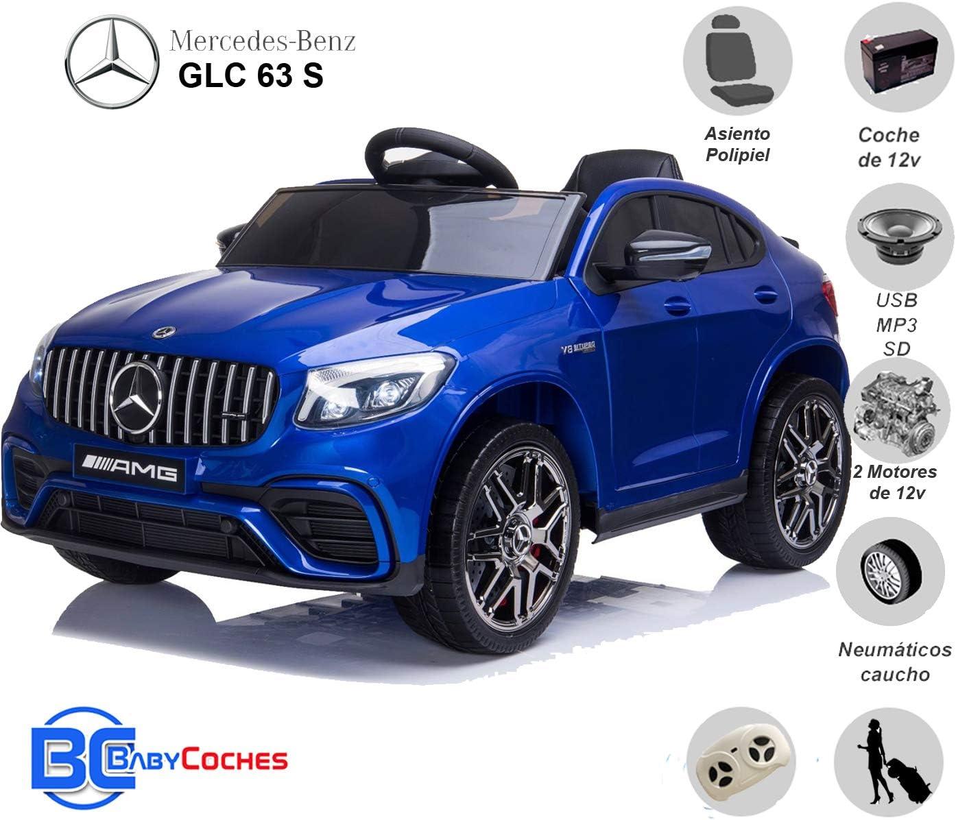 BC BABY COCHES Mercedes GLC 63S - Coche eléctrico para niños con BATERÍA 12v con Ruedas Caucho y Asiento Polipiel, Mando a Distancia (Azul): Amazon.es: Juguetes y juegos