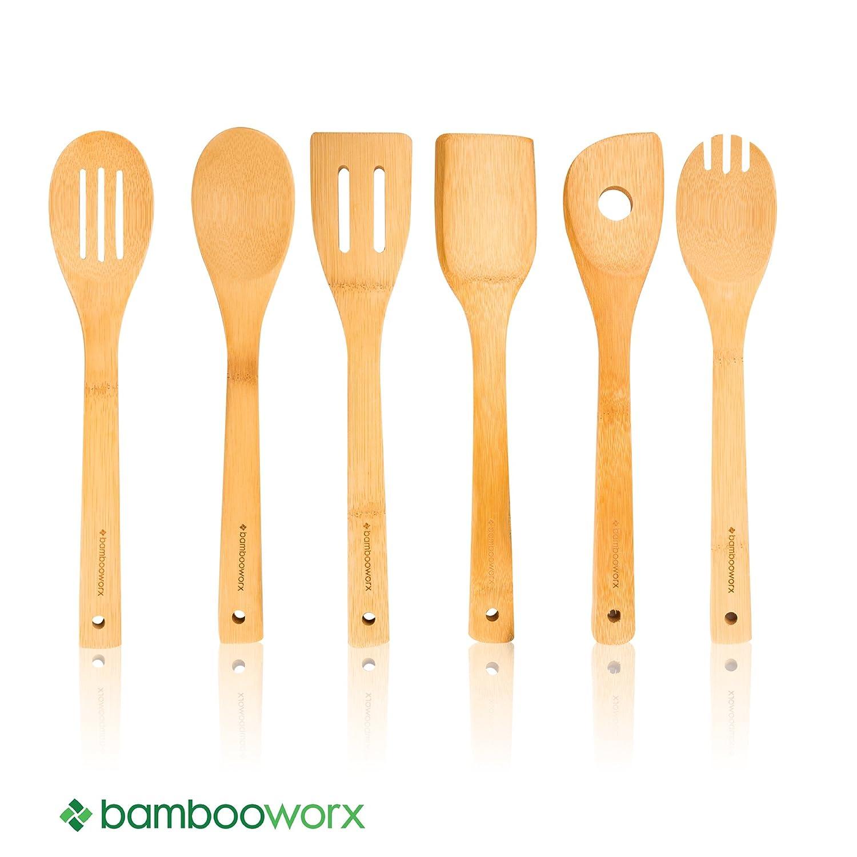 bambooworx bamboo cooking utensils set 6 pieces