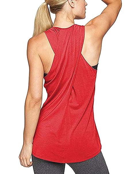 Aibrou Camiseta Mujer Deporte sin Mangas para Yoga Fitness y Deportes 235067504fa9