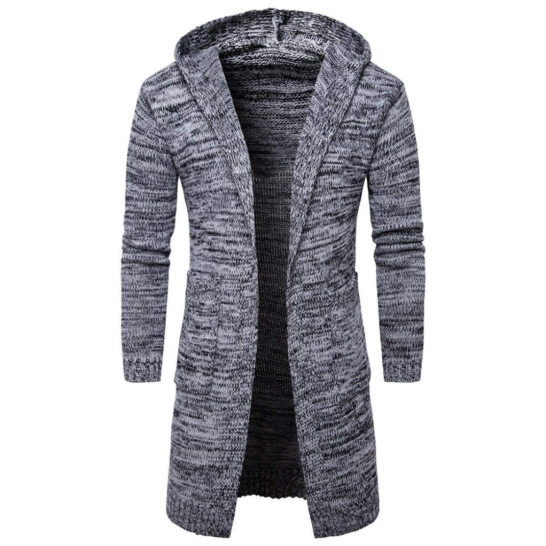 HTHJSCO Mens Casual Stand Collar Cable Knitted Cardigan Hooded Knit Sweater Trench Coat Jacket (Gray, XXL)