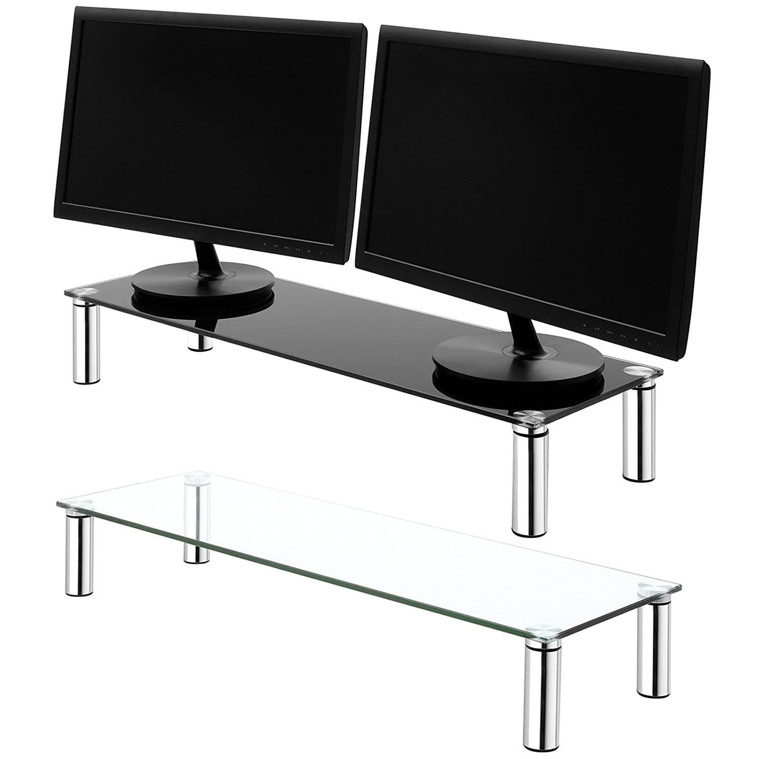 Hartleys X-Large 100cm Glass Monitor Riser Stand with Chrome Legs - Choice of Height & Colour