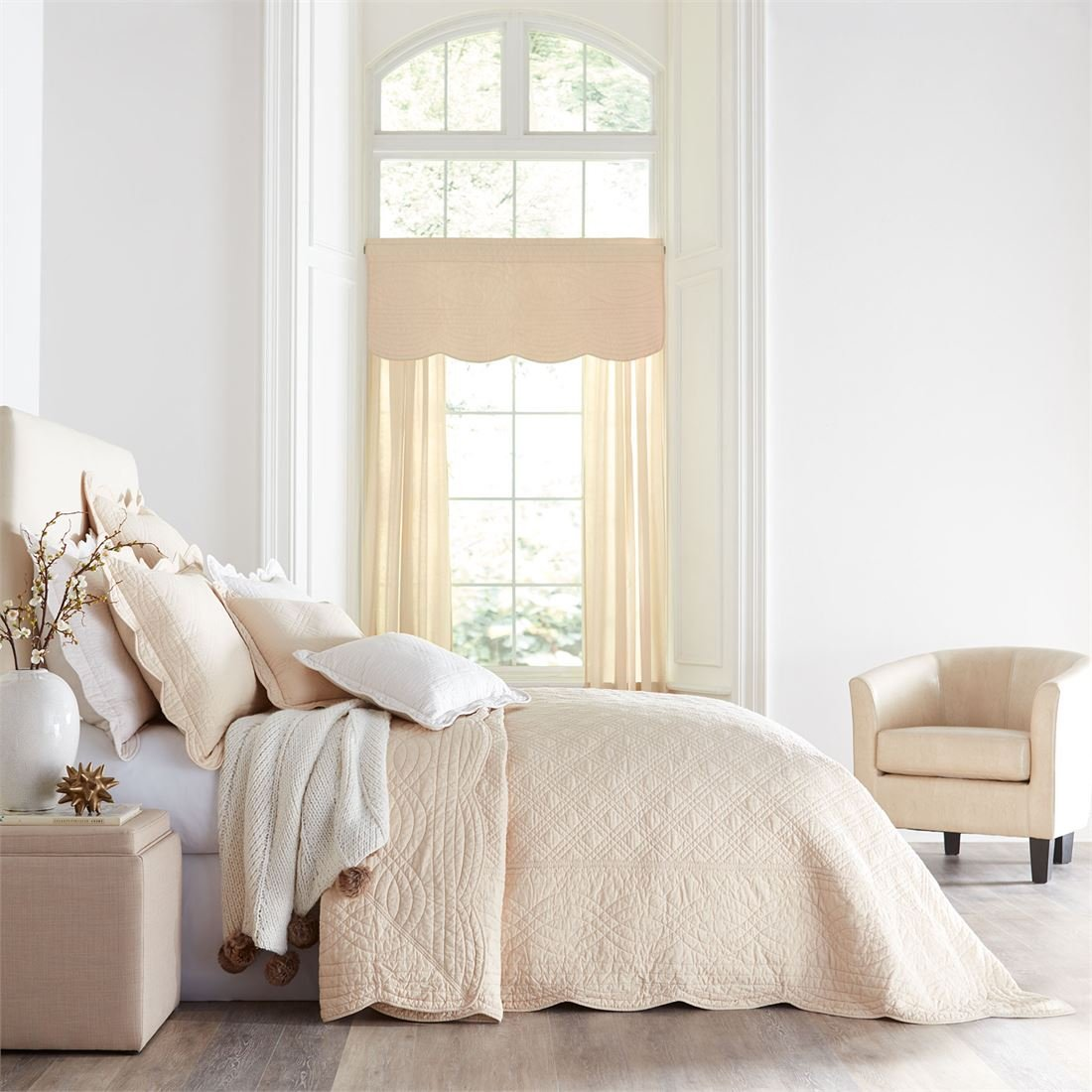 BrylaneHome Florence Bedspread (Oatmeal,Queen)