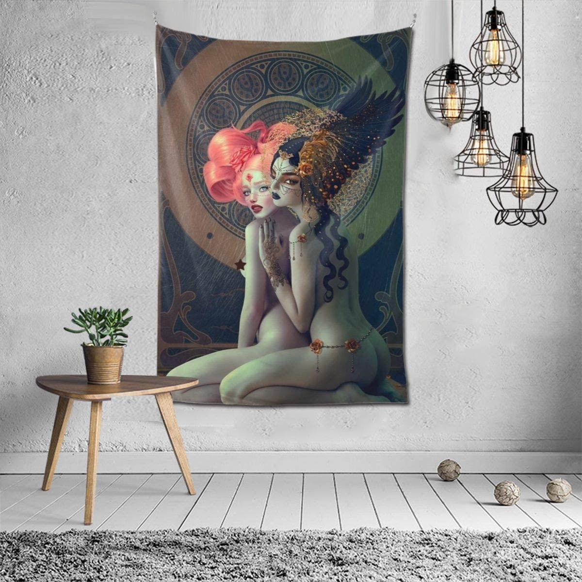 Hippie Hippy Wall Tapestry Lesbian Girls Pride Art Ombre Tapestry Wall Hanging Throw Tapestries for Bedroom Dorm Accessories Mandala Yoga Mat Rugs Wall Tapestries