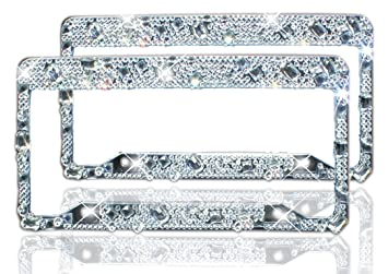 bling bling license plate frame for women girl rhinestone tag plate frame for car 2 pack