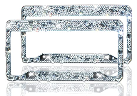 Amazon.com: ZATAYE Bling License Plate Frame 2 Pack - Pure Handmade ...