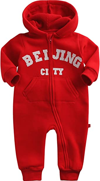 Vaenait baby 0-24M Infant Boys Fleece Winter Hoodie Jumpsuit Romper Hoody