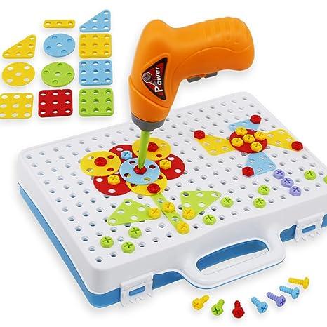 afb589320a55cd ANNA SHOP 146 Stück Schrauben Puzzle Mosaik Steckspiel Spielzeug Steckspiel  für Kinder ab 2 Jahren  Amazon.de  Spielzeug