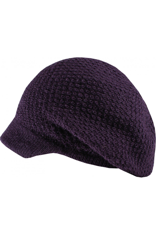 Baby Alpaca - Bohemian Beanie Hat with visor 100% baby alpaca wool - purple, One size