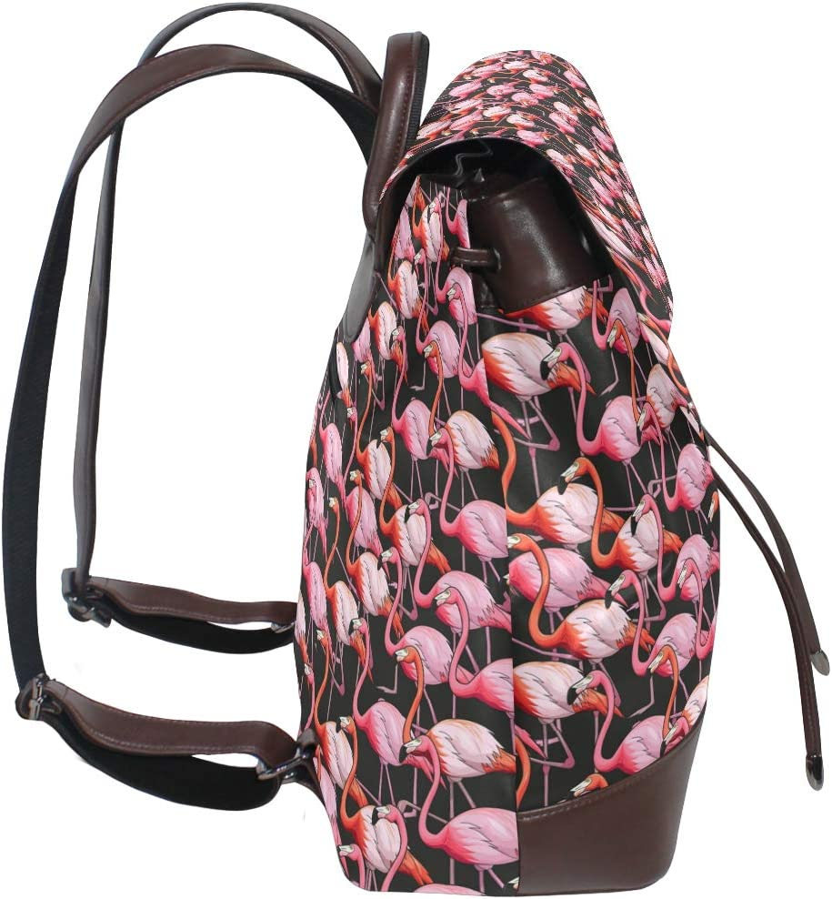Leather Colorful Flamingo Backpack Daypack Bag Women