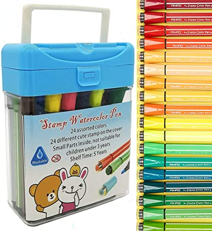 Amazon Com Onmust Stamp Markers For Kids Washable Watercolor Markers Non Toxic Fine Tip Coloring Marker Pens With Storage Case 24 Colors Office Products