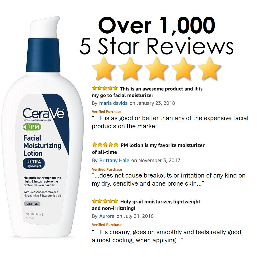 CeraVe Facial Moisturizing Lotion PM | 3 Ounce (Pack of 2) | Ultra  Lightweight, Night Face Moisturizer |