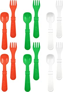 product image for RE-PLAY Made in The USA 12pk Fork and Spoon Utensil Set for Easy Baby, Toddler, and Child Feeding in Red, Kelly Green and White | Made from Eco Friendly Heavyweight Recycled Milk Jugs | (Holiday)