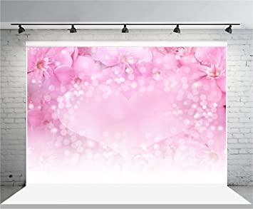 Pink Bokeh Halos Backdrop 10x6.5ft Valentines Day Polyester Photography Background White Pearls Treasure Elegant Lover Woman Mother Baby Shower Wedding Party Portrait Shoot Decor Wallpaper