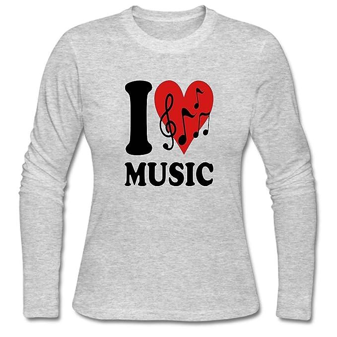 97592e10 Amazon.com: AIKYAN Women's I Love Music T-Shirt: Clothing
