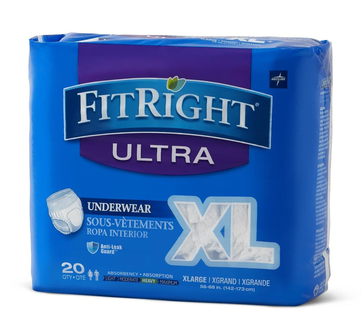 Amazon.com : Medline FitRight Ultra Moderate Absorption Disposable Protective Underwear - X-Large/56-68 Inch Waist, 80 Count : Baby