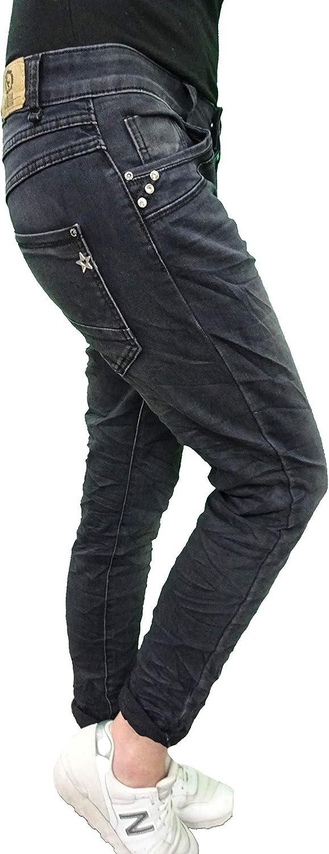 Karostar Denim Elasticizzato Baggy-Boyfriend-Jeans Boyfriend 4 Bottoni Aperto con Bottoni Altri Colori