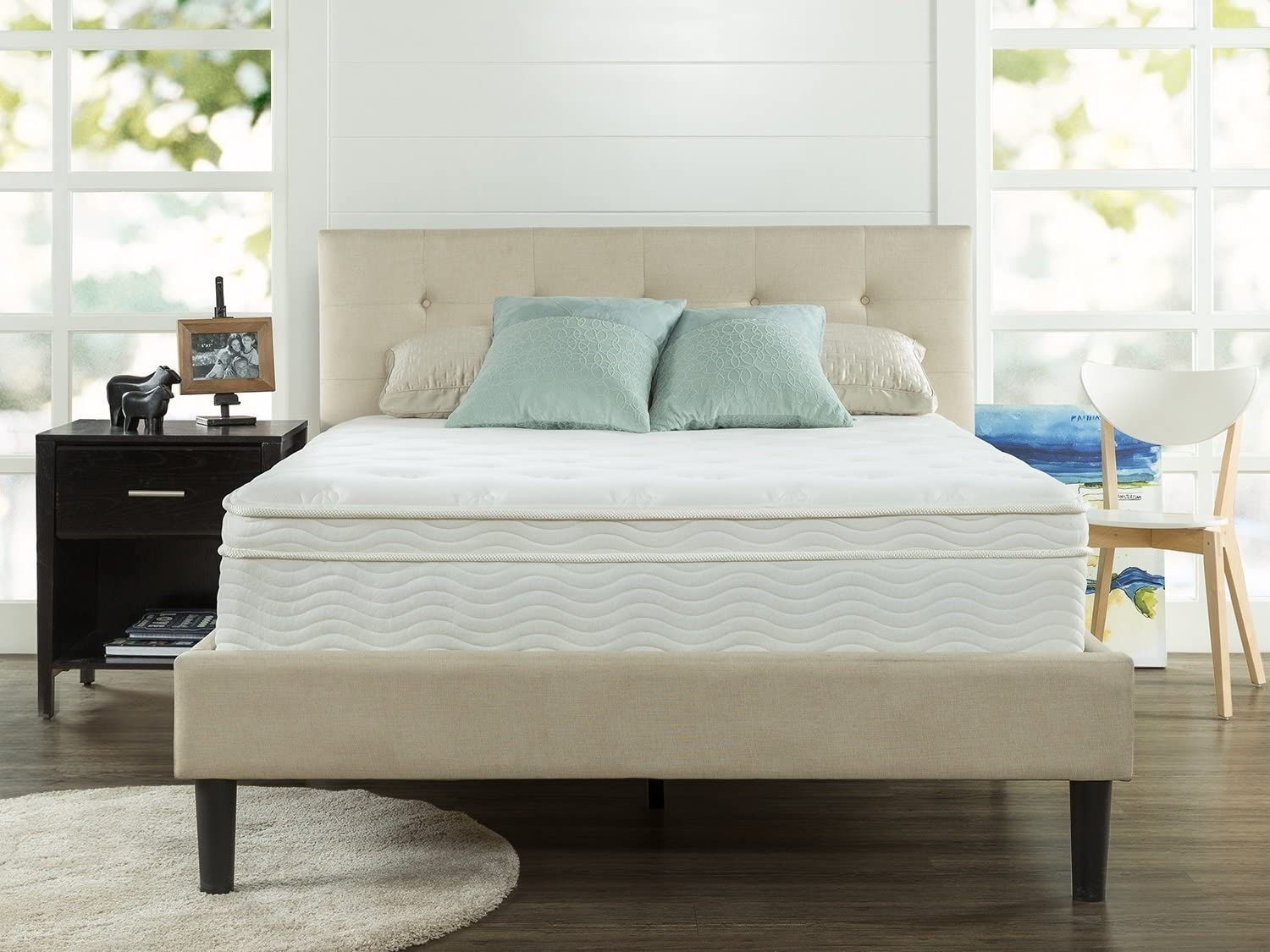 Zinus Ultima Comfort 13 Inch Deluxe Euro Box Top Spring Mattress, Queen