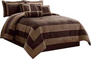 GrandLinen 7 Piece Brown, Beige Color Block Bedding (104