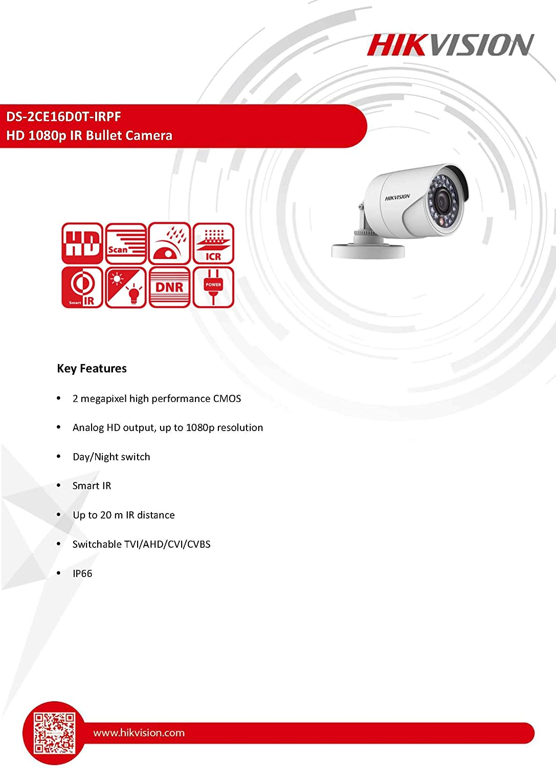 Hikvision Turbo Hd Ds 2ce16d0t Irpf 3 6mm Full Hd 1080p Waterproof Ir Bullet Camera Hikvision C Coaxitron 4 In 1 Camera Hd Tvi Ahd Hd Cvi Cvbs With It S Own Joystick Mode Switch Baumarkt