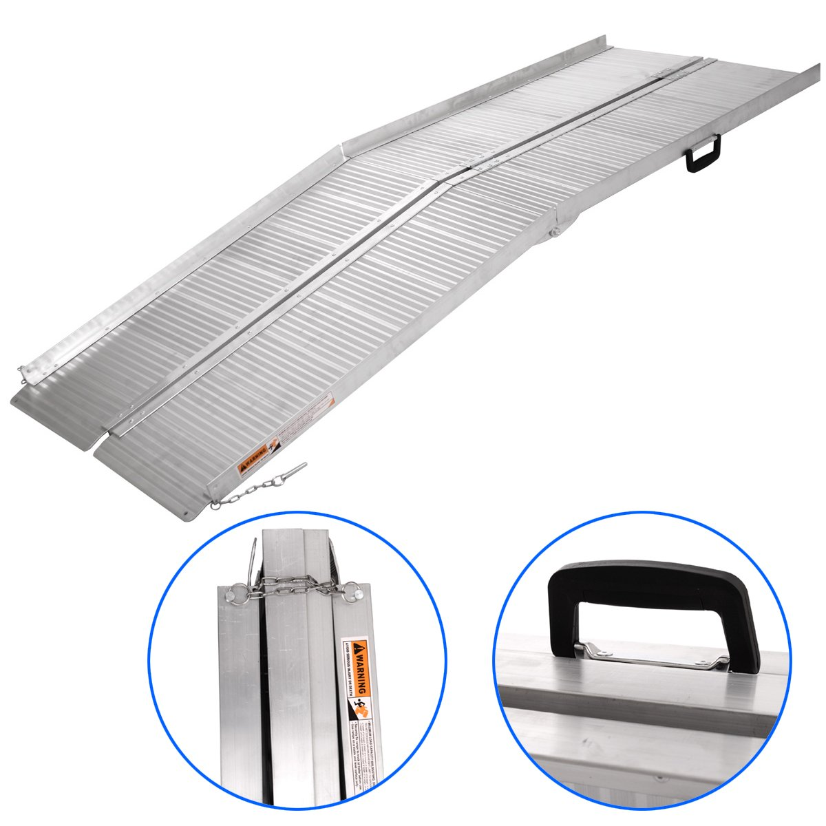 JAXPETY 7'ft Aluminum Folding Portable Mobility Wheelchair Threshold Ramp Non-Slip