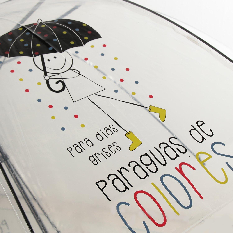 DRW - Paraguas Mensaje Positivo Transparente para días Grises Paraguas de Colores 85x84cm: Amazon.es: Hogar