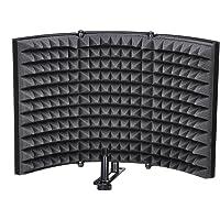 SODIAL Folding Studio Microphone Isolation Shield Recording Sound Absorber Foam Panel