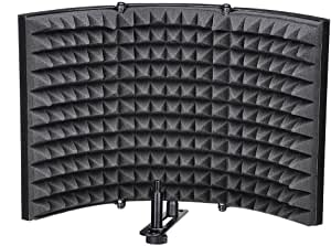 SODIAL Folding Studio Microphone Isolation Shield Recording Sound Absorber Foam Panel
