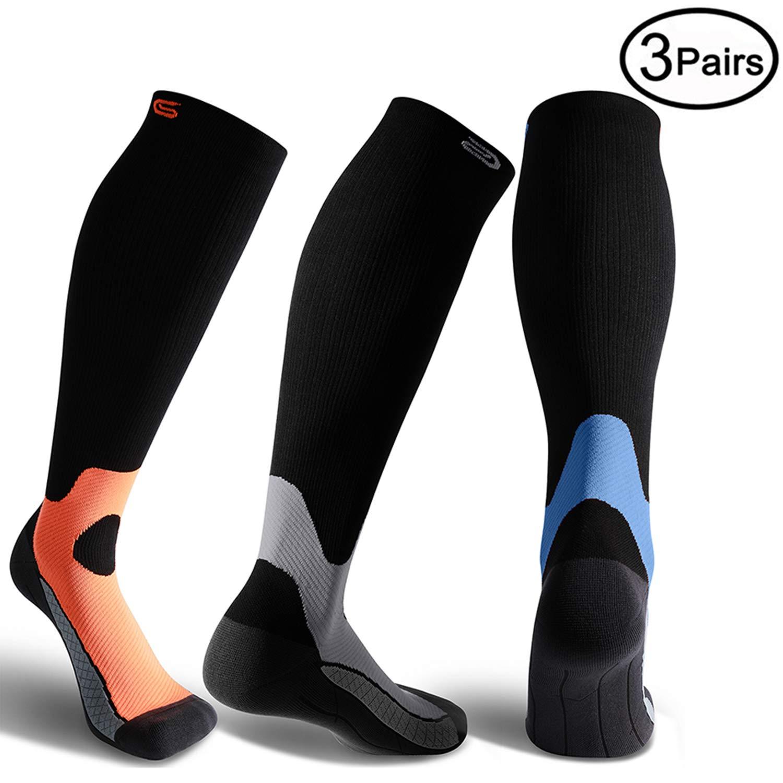 CS CELERSPORT 3 Pairs Compression Socks 20-30mmHg for Men and Women-Best Stockings for Running, Traveling, Shin Splints, Nurse, Athletic and Pregnancy Grey, Blue, Orange S/M