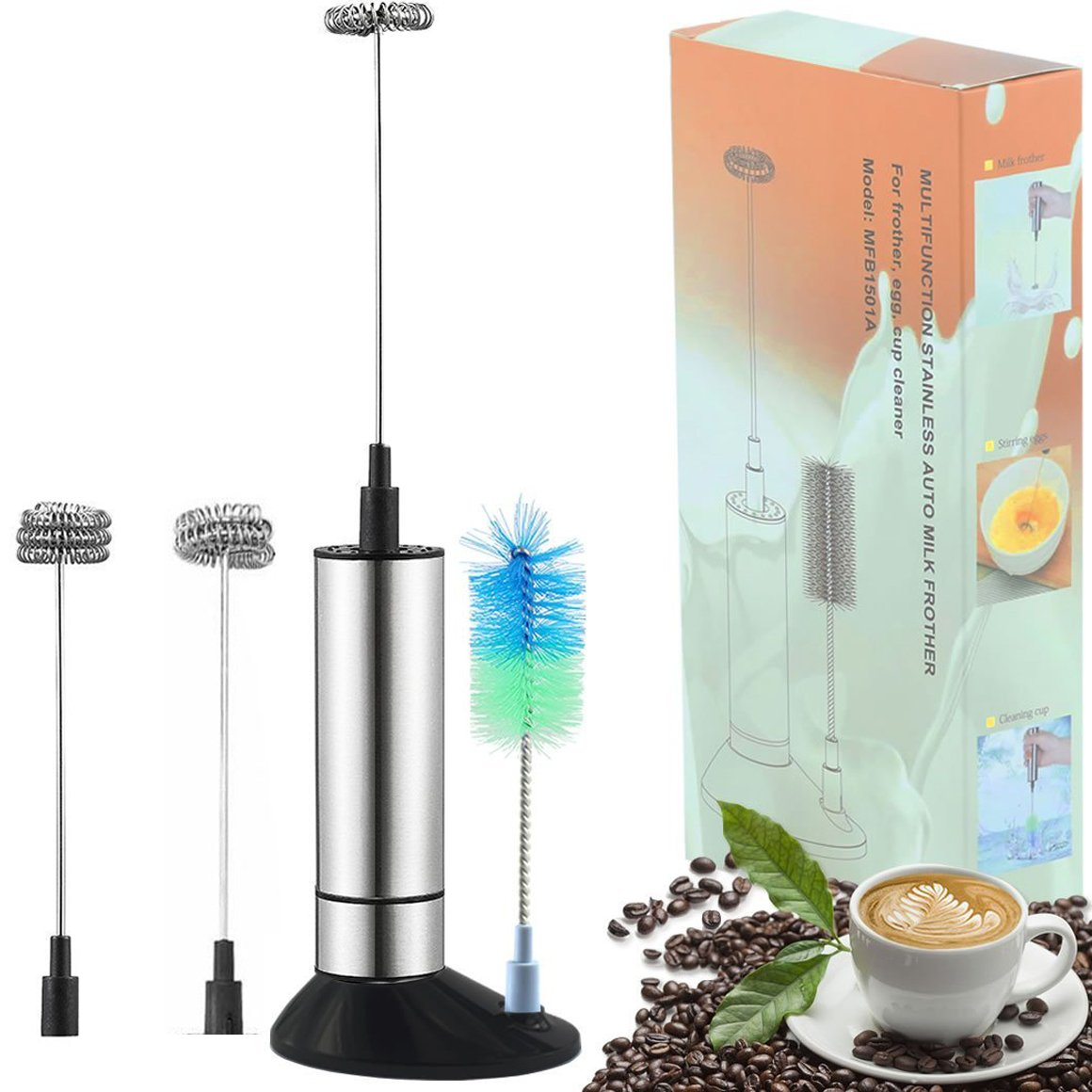 Yopin Handheld Milk Frother, Battery Operated Electric Foam Maker,Stainless Steel Whisk for Coffee, Latte, Cappuccino with Stand 3 Whisks -Portable Electric Durable Drink Mixer