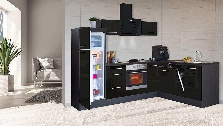 respekta - Mueble de cocina (260 x 200 cm, madera de roble), color negro: Amazon.es: Hogar
