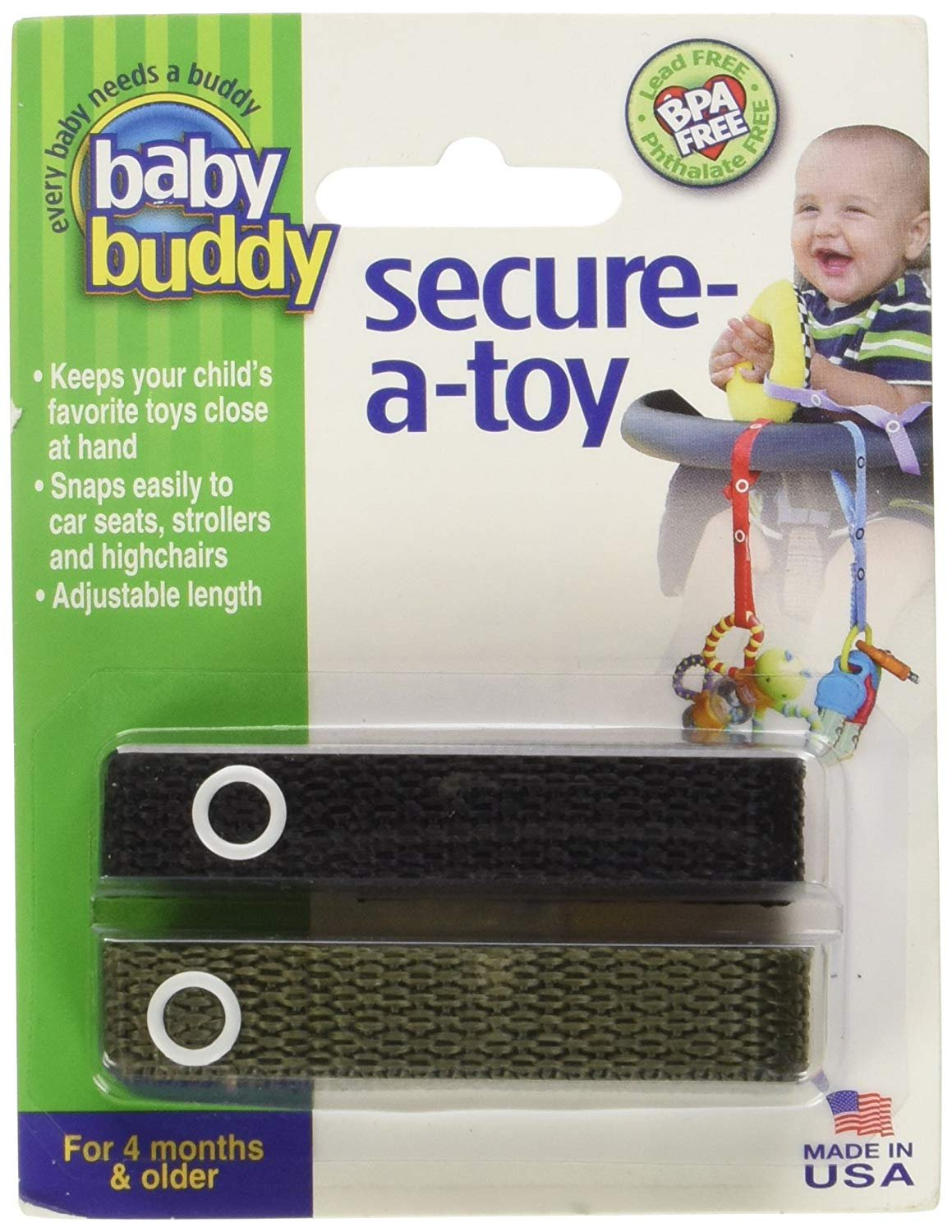 2-Pack Baby Buddy 2-Count Secure-A-Toy Red//Silver