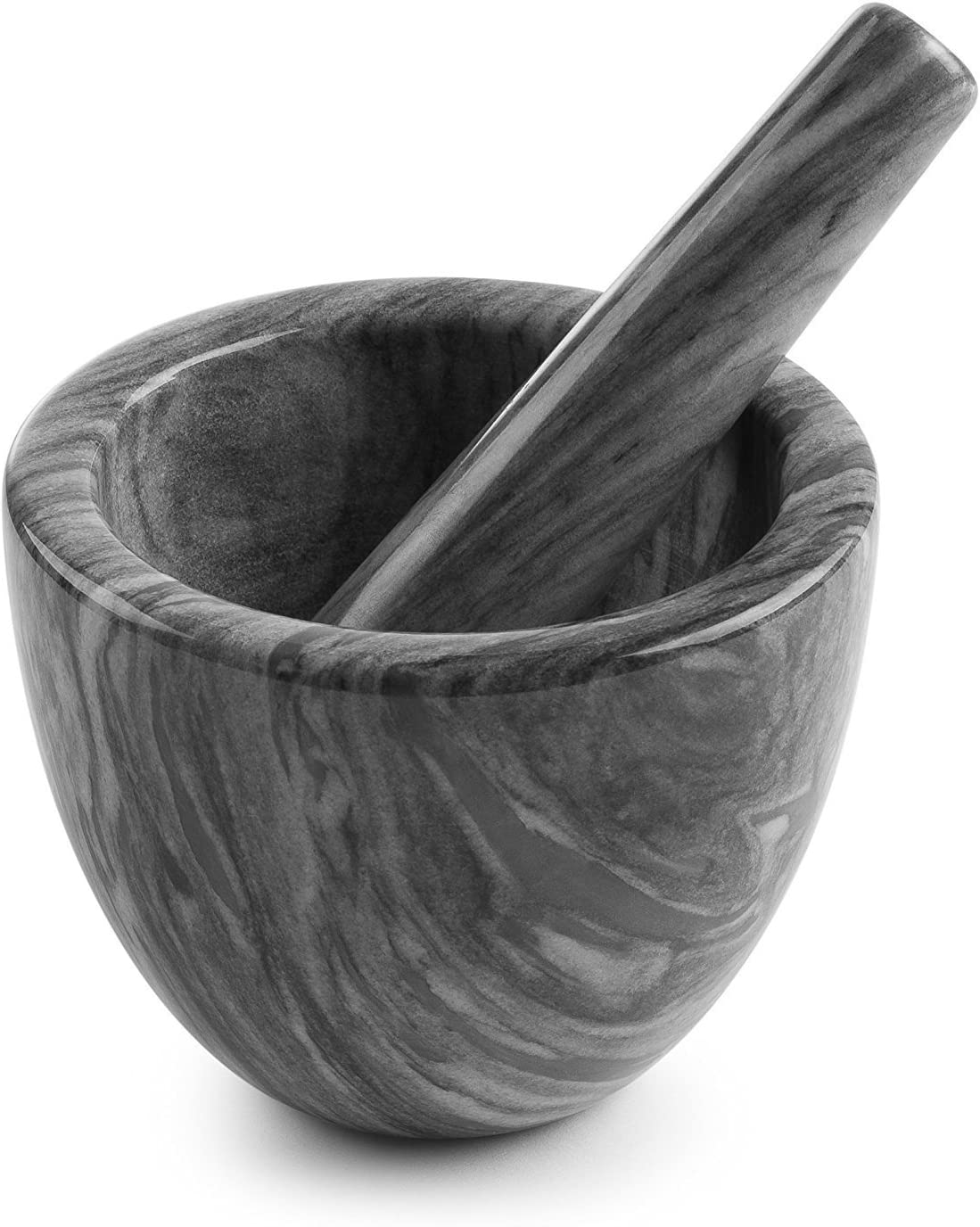 mortero de marmol gris